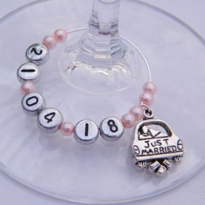 Just Married Personalised Wine Glass Charm